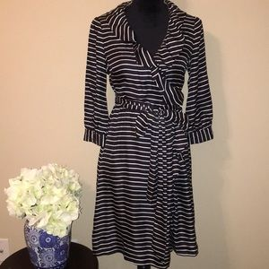 Kate Spade black and white striped wrap dress ♠️